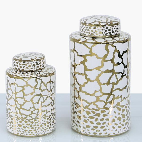Clark White & Gold Jar - Two Sizes!
