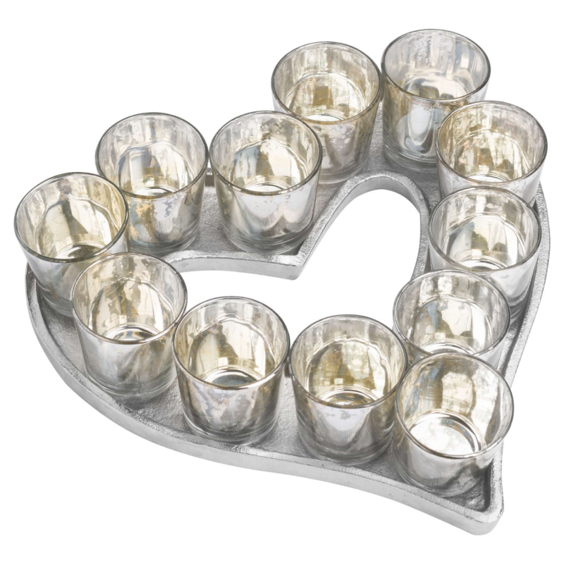 Heart Votive Glass Tray