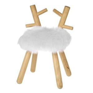 White Fluffy Deer Stool