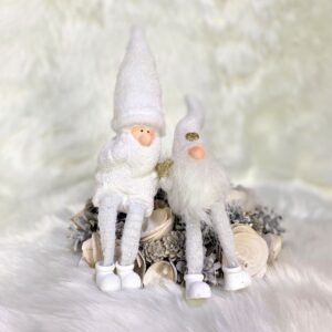White Gonk and White Santa Decoration