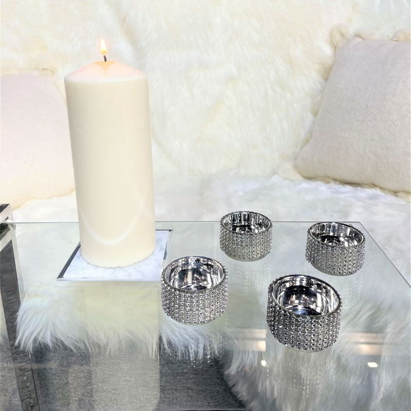 Set of Four Sparkle Tealight Holders