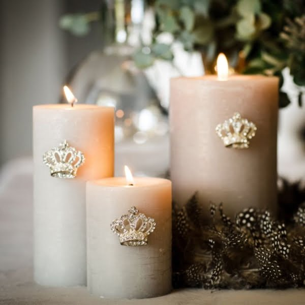 Set of Three Crown Candle Pins
