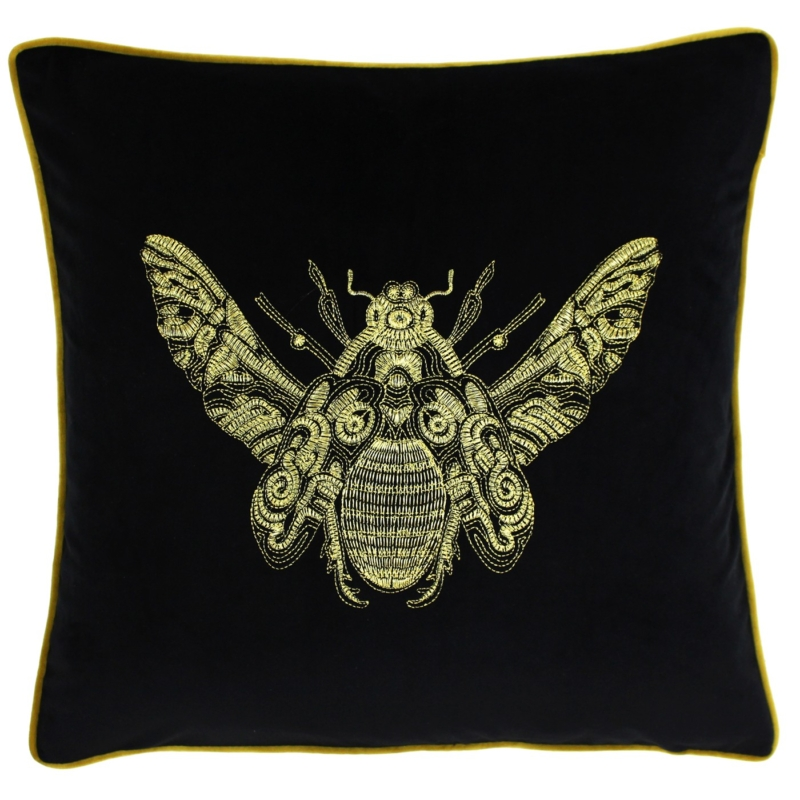 Black Embroidered Bumblebee Cushion
