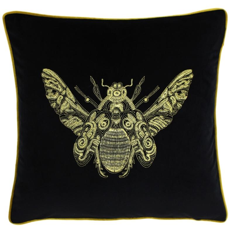 Black Embroidered Bumblebee Cushion