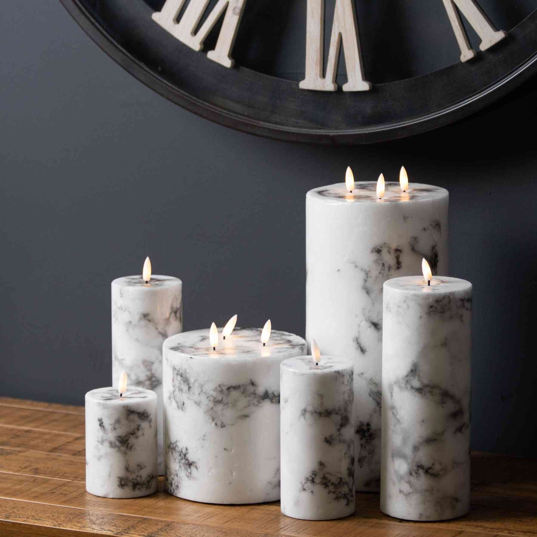 Honor Luxe Natural Glow Marble Effect LED Candle