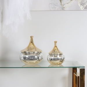 Clear Glass Vase with Gold Fluted Lid