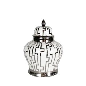 Cairo White & Silver Ginger Jar