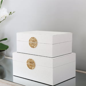 White & Gold Faux Leather Boxes