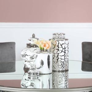 Colby White & Silver Ginger Jar