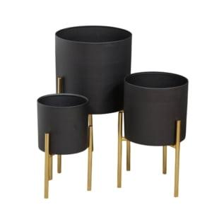 Set of Three Black & Gold Planters