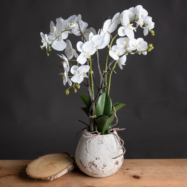 Honor White Orchid Stone Pot